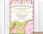 Pink Barnyard Birthday Invitation. Farm Animal Birthday Party. DIY Printable Birthday Invitation.