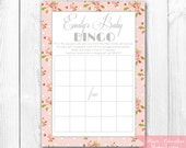 Shabby Chic Roses Baby Shower Bingo Game. Print-it-Yourself Baby Shower Bingo or Bridal Shower Bingo.