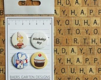 "Badges / Flair buttons ""Birthday Boy"" Vintage Cupcake Dog"