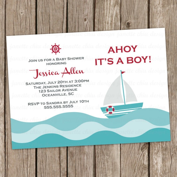 Items Similar To Sailor Boy Baby Shower Invitation Digital