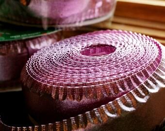 Large Spool of Pink Metalic Wired Ribbon, Craft Supplies.Destash, Pink Easter Ribbon.