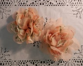 "Peach Floral 4.5"" Chiffon Flowers - 2 PCS"