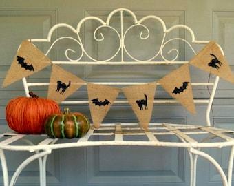 Primitive Halloween Decor Burlap Banner / Photography Prop / Bats & Black Cats