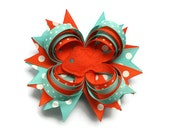 Toddler Hair Bow Girls Hair Bow Fish Hair Bow in Aqua and Orange