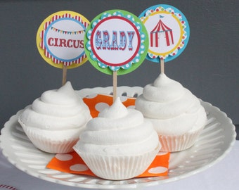 BIG TOP CIRCUS Happy Birthday Party Cupcake Toppers 12 {One Dozen} - Party Packs Available
