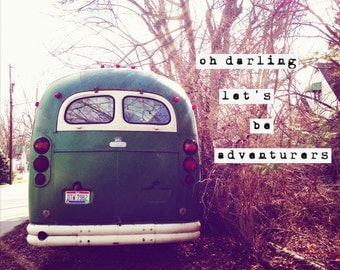 vintage, bus, green, typography, fine art photography