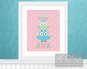 Stacked Owls Custom Nursery Wall Art 8x10 DIY Printable