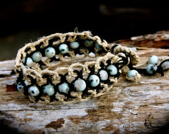 Kiwi Jasper Organic Hemp Macrame Healing Cuff Bracelet