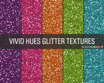 80% OFF Sale Glitter Digital Paper Glitter Textures Printable Paper Pack Vivid Hues
