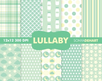 70% OFF SALE Digital Paper Baby Shower Lullaby Green Background Patterns