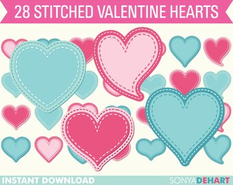 80% OFF Sale Clip Art Hearts, Valentine Clip Art, Clipart Hearts, Clipart Valentines, Valentines Day, Stitched Clip Art, Stitched Clipart