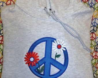 Patriotic Colors Embroidered Peace Sign Hoodie