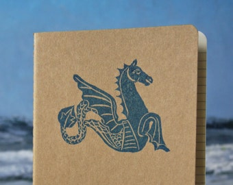 Mythical Hippocamp Journal. Ocean Sea Horse journal with inner pocket. cahier