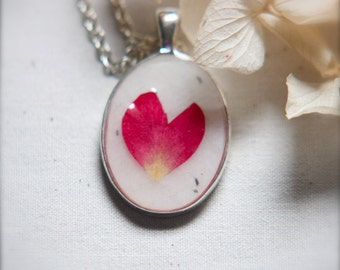 botanical jewelry romantic pressed flower necklace real red rose petal heart love romance soft light