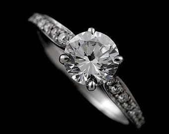 Modern Pave Set Diamond Forever Brilliant Moissanite 14k White Gold Engagement Ring