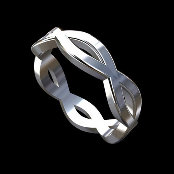 Sterling Silver Designer Infinity Eternity Men's Wedding Band Eternal Knot Ring 5.5mm Wide