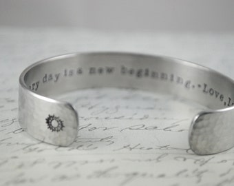 Every Day is a New Beginning Secret Message Hand Stamped Bracelet- Personalized Bracelet