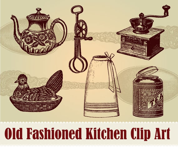 Vintage Kitchen Items Clip Art Collection 100 Scalable Vector Art