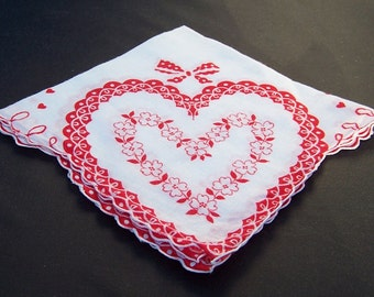 Vintage Hanky Think Valentines Day Hearts and Flowers Sweetheart Gift