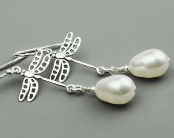 White Pearl Earrings - Sterling Silver Dragonfly Earrings - Bridesmaid Gift - Dangle Earrings - Sterling Silver Drop Earrings