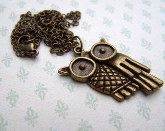 Owl Necklace Retro Owl Jewelry Brass Owl Necklace