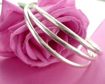 classic triplet sterling silver bangle bracelet