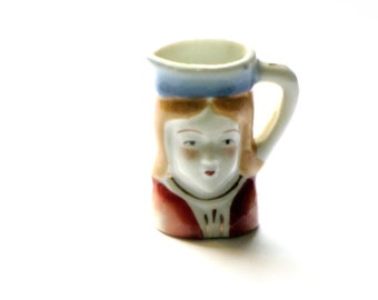 Vintage Miniature Prince Toby Jug Tiny Toby Face Mug Decorative Porcelain Collectible Occupied Japan, Mid Century, Asian Collectibles