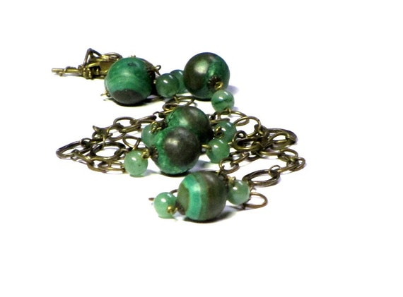 Green Jade Necklace, Antiqued Brass, Gemstone Necklace, Boho Chic