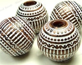 19mm Bronze and White Etched Acrylic Beads - 6pcs - Round, Opaque, Patterned, Brown - BK13