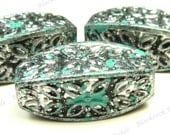 30x12mm Antique Turquoise Blue and Black Metallic Silver Finished Carved Plastic Beads - 8pcs - Oval, Barrel - BK38