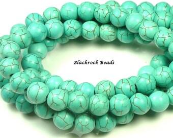 6mm Turquoise Blue Synthetic Howlite Round Stone Beads - 16 Inch Strand - Round, Brown Matrix Veins - BG13