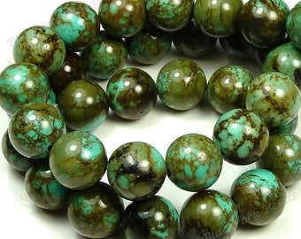 12mm Green Brown and Turquoise Blue Magnesite Matrix Gemstone Beads - 15.5 Inch Strand - Round, Opaque - BH35/36