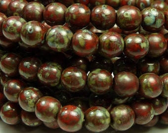 6mm Opaque Red Picasso Czech Glass Beads - 30pc Strand - Round, Smooth Druks - BD33