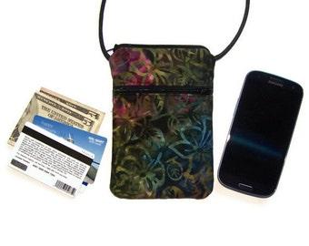 iPhone Crossbody Hipster or Wristlet Batik Fabric