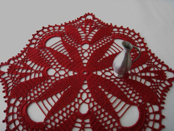 Crochet Tablecloth Red Flower Pattern Cardinal by DoSymphony