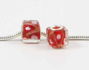 3 Beads - Red Gold Foil White Dots Lampwork Glass Cube Silver European Bead Charm E0407