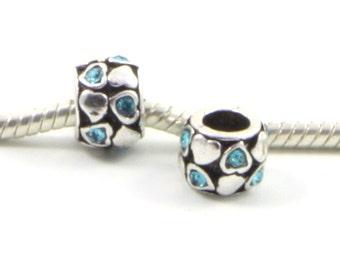 3 Beads - Heart Blue Rhinestone Silver European Charm Bead E0415