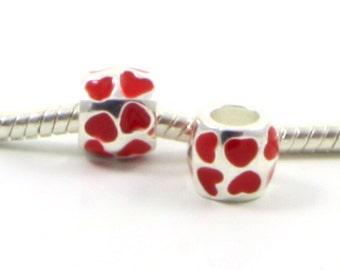 3 Beads - Heart Red Enamel Silver European Bead Charm E0416