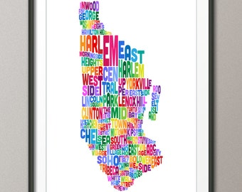 Manhattan New York Typography Text Map, Art Print (220)