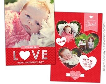 INSTANT DOWNLOAD - Valentine Birth Announcement - Photoshop template - E684