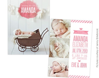 INSTANT DOWNLOAD - Birth announcement template - Princess Amanda  - E757