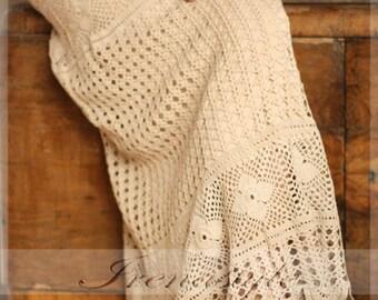 Crochet skirt . Lace skirt maxi .Cowboy style . Crochet handmade , custom made.