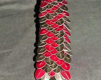 Red and Black Dragon Scale Bracelet