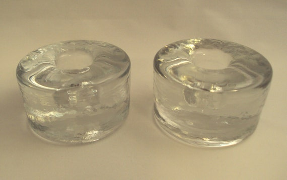 Blenko Glass 990a Pair Of Clear Round Ice Block Candle Holders