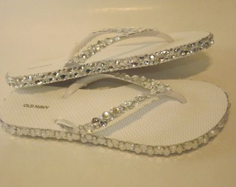 Rhinestone Bling Flip Flops Bridal Wedding