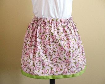 Girls Ribbon Trim Skirt - Girls Floral Skirt - Girls Twirl Skirt - Pink and Green Skirt - Toddler Skirt - RTS - sizes 18m/2T, 3T/4T, 5/6