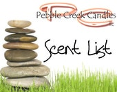 Pebble Creek Candles, Scented Candle Company, Air Freshener Scents List Descriptions, Handmade Hand Poured, Wax Tarts Melts, Sachets