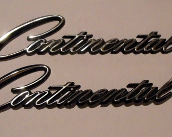 Vintage Script Emblems From the Lincoln Continental Mark III Pair
