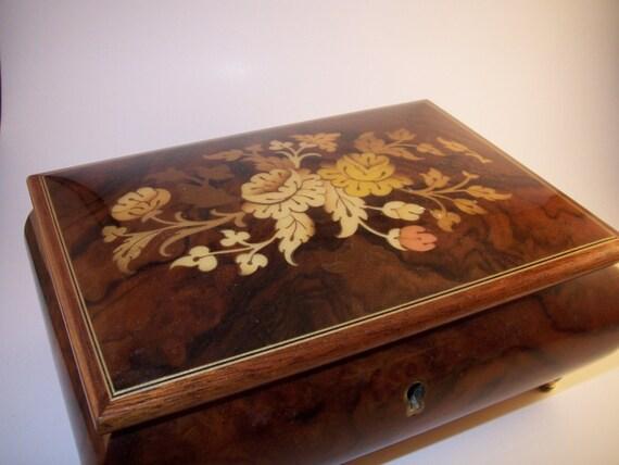 Vintage Swiss Mapsa Wood Jewelry Music Box By Flippsisters