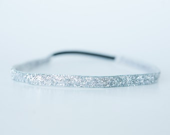 "No Slip Glitter Headband  Silver  3/8"", 5/8"", or 1.5"""